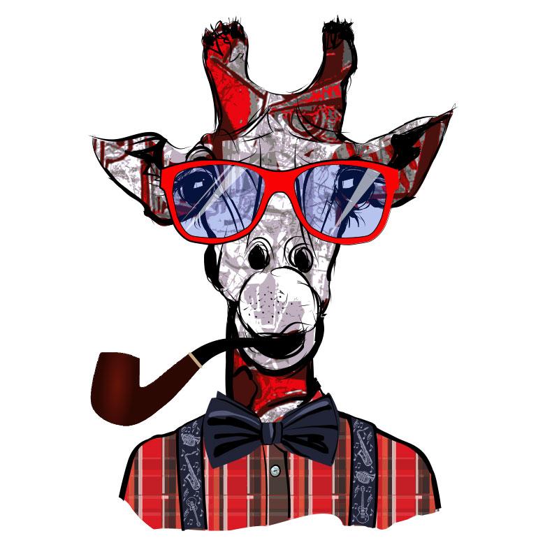 Прикольный жираф в красной клетчатой рубашке с курительной трубкой.