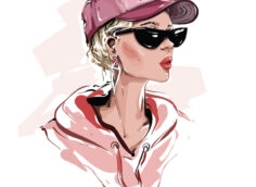 Картинка девушка в розовой бейсболке и чёрных солнечных очках.