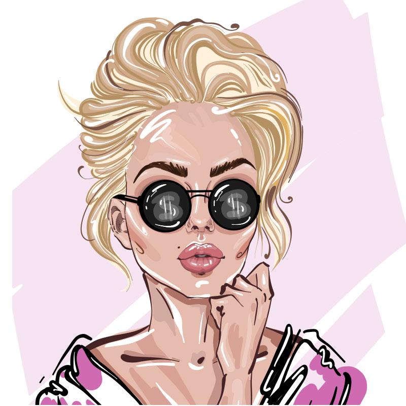 Портрет красивой девушки - блондинки в тёмных очках.