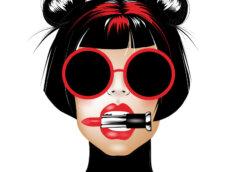 Картинка на аву девушка - брюнетка со стильной причёской, в круглых солнечных очках и с зажатым в зубах тюбиком губной помады.