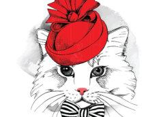 Красивая аватарка для девушек с мордочкой пушистой кошки в полосатом галстуке-бабочке и красной круглой шляпе.