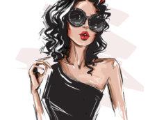 Рисунок красивой девушки по пояс с длинными чёрными волосами, в чёрном дневном платье с открытым плечом и солнечных очках.