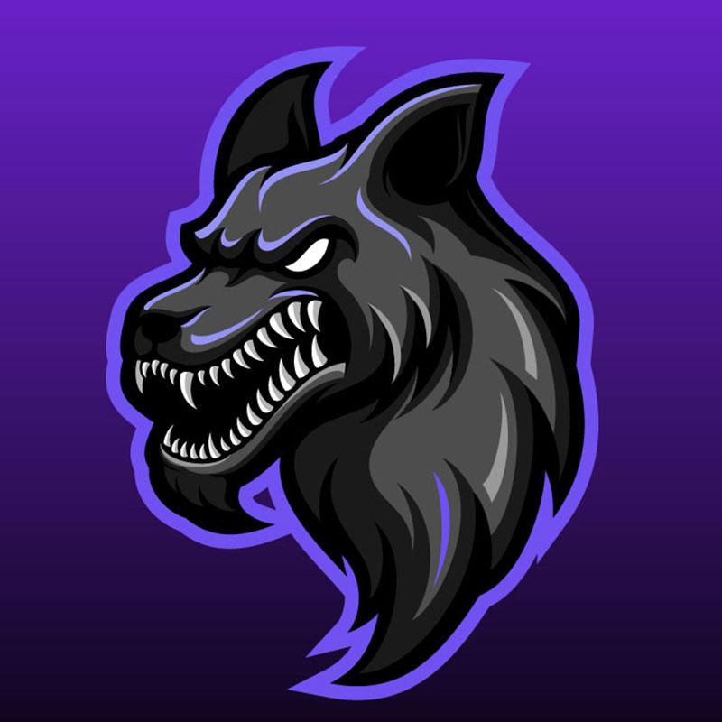 Картинка на аву пацанам: чёрная голова волка с оскаленной пастью на пурпурно - фиолетовом квадратном фоне.