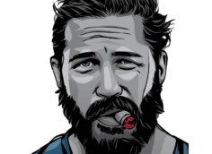 Фото реального мужчины 40 лет на аватарку с прической, бородой и прикуреной сигарой во рту.