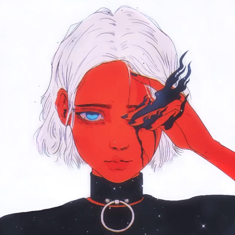 Аниме портрет девушки с красным лицом и белыми волосами.