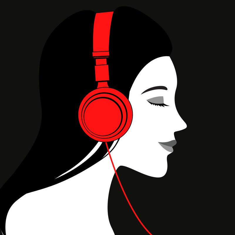 Картинка девушка брюнетка на аву в профиль в красных наушниках.