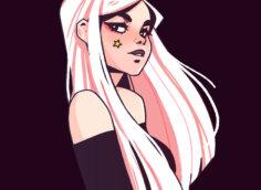 Классная аниме картинка на аву с портретом девушки со светлыми длинными волосами в бордовой кофте с открытыми плечами в профиль на чёрном квадратном фоне.