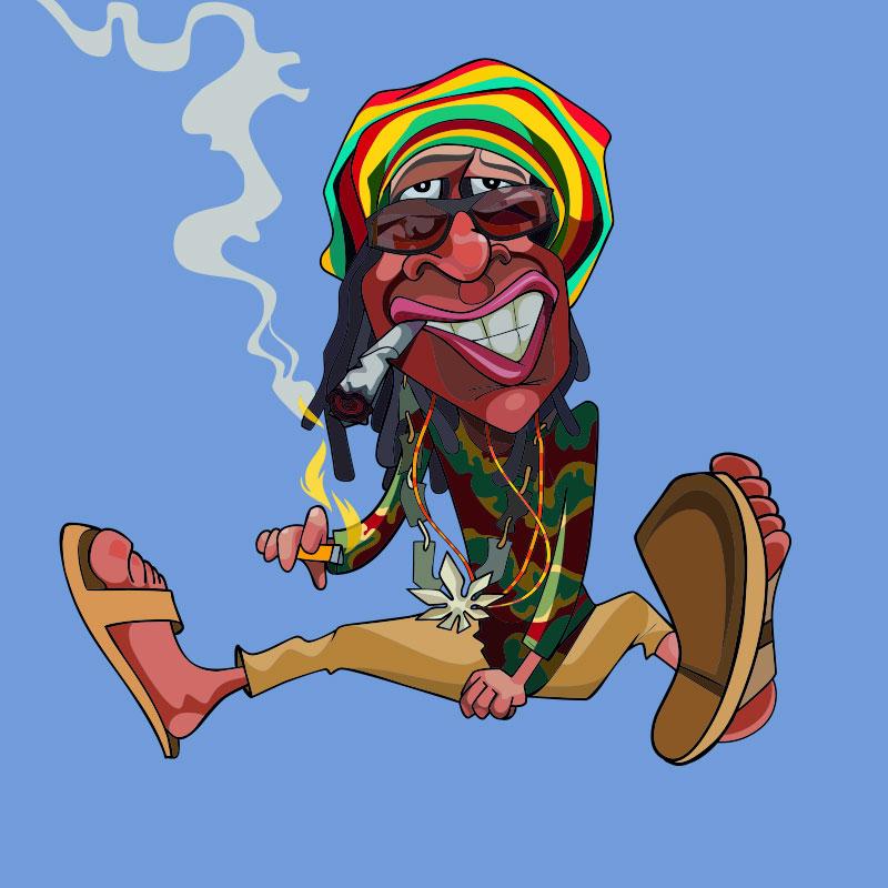 Картинка - красивая аватарка для парня с рисунком сидящего мужчины с дредами в растаманской шапке, в сандалях и солнечных очках.