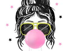 Картинка - прикольная аватарка для девушек с рисунком женской головы с длинными чёрными волосами, в жёлтых солнечных очках и надутым розовым пузырём из жевательной резинки.