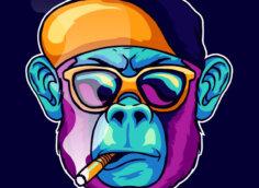 Квадратная картинка - прикольная аватарка для пацанов с бирюзовым лицом обезьяны с пурпурной бородой в солнечных очках и бейсболке.