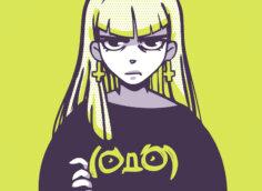 Аниме картинка на аву девушка в футболке с рукавами и длинными зелёными волосами.