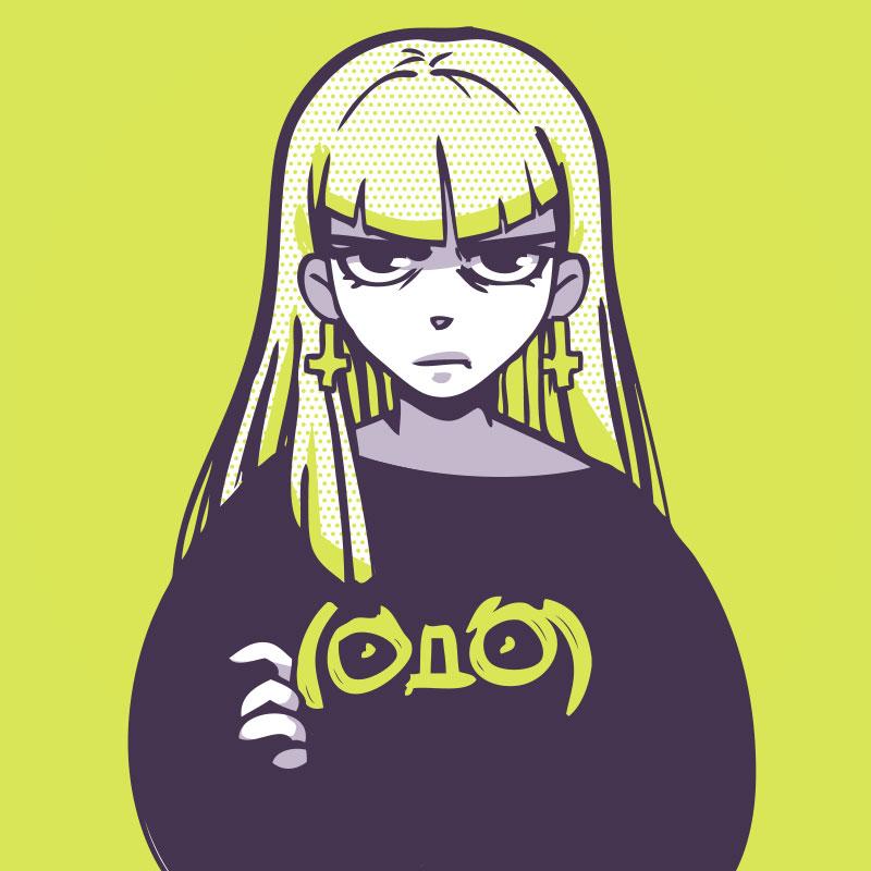Аниме девушка в футболке с рукавами и длинными зелёными волосами.