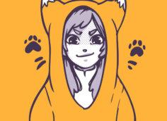 Оранжевая картинка аниме девочка на аву в костюме лисы.