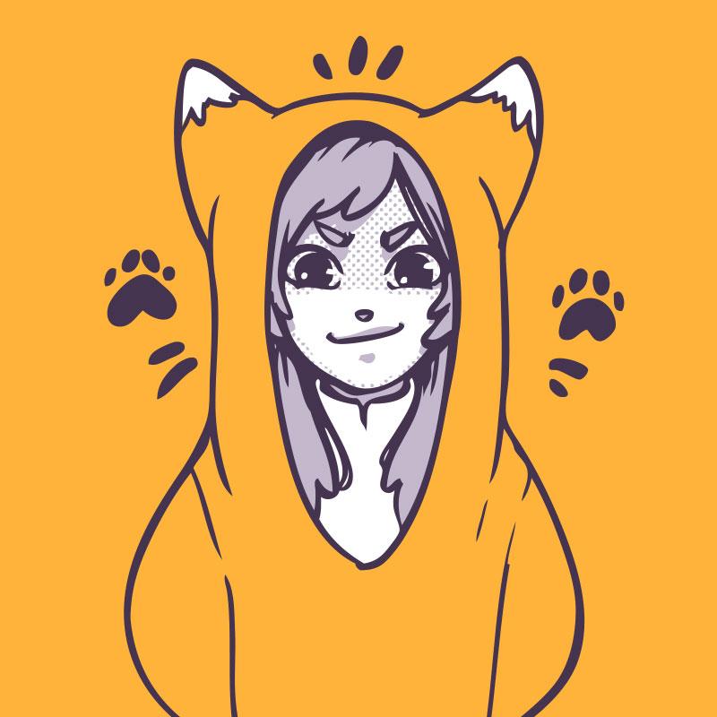 Оранжевая картинка с аниме девочкой в костюме лисы.