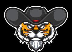 Крутая аватарка для парней голова тигра в ковбойской шляпе на чёрном квадратном фоне.