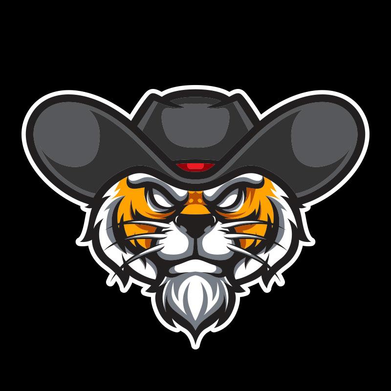 Голова тигра в ковбойской шляпе на чёрном квадратном фоне.