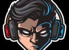 Картинка мрачная аватарка для парней с мужской головой в наушниках на чёрном фоне.