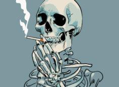 Пацанская картинка на аву скелет человека с сигаретой во рту.