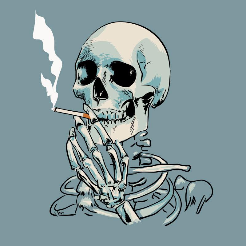 Скелет человека с сигаретой во рту.