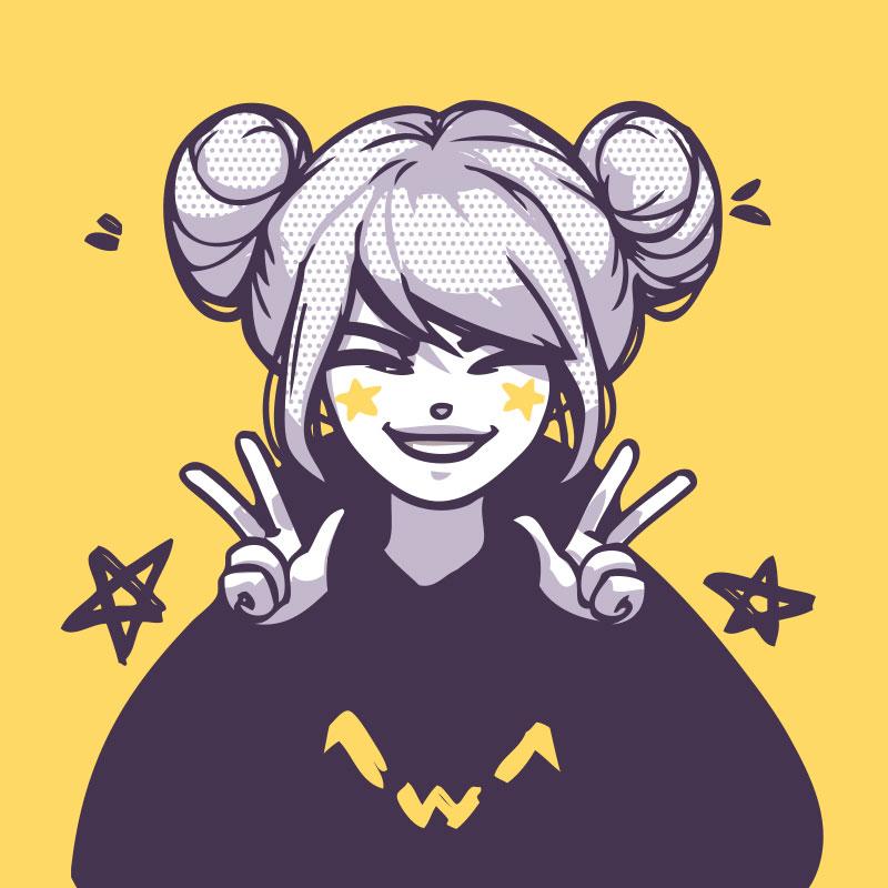 Прикольная аниме картинка на аву жёлтого цвета с портретом смеющейся девушки.