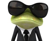 Прикольная картинка с лягушкой в солнечных очках и костюме с галстуком.