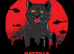 Черный кот в красном круге над очертаниями города.