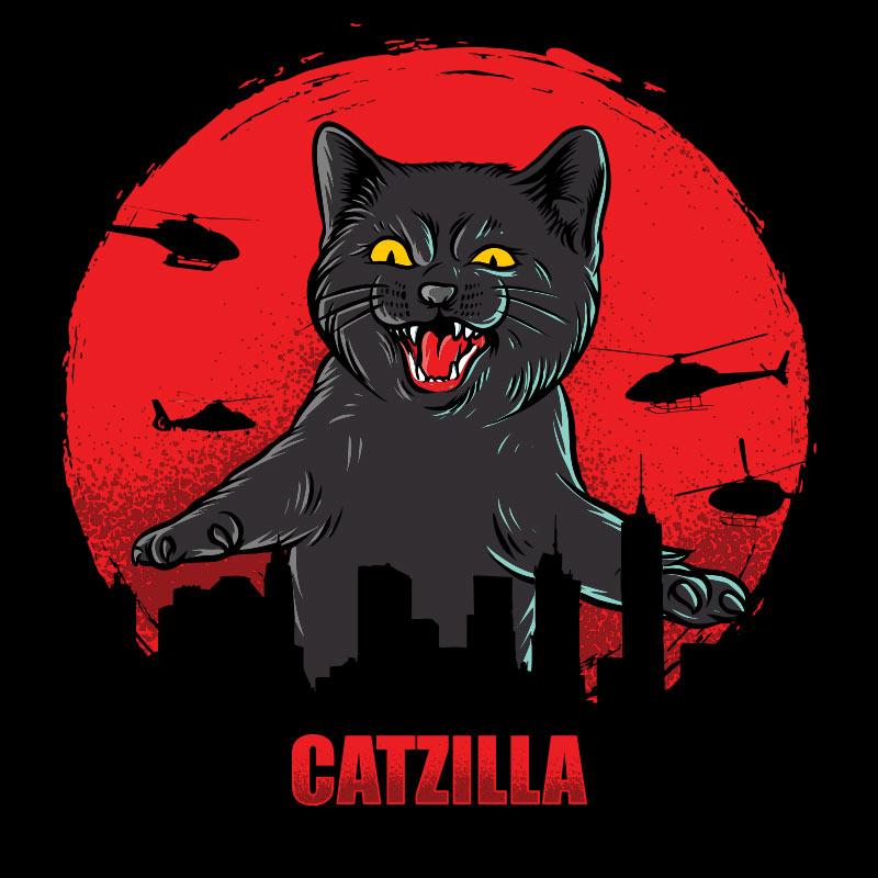 Картинка на аву прикол с черным котом в красном круге над очертаниями города.