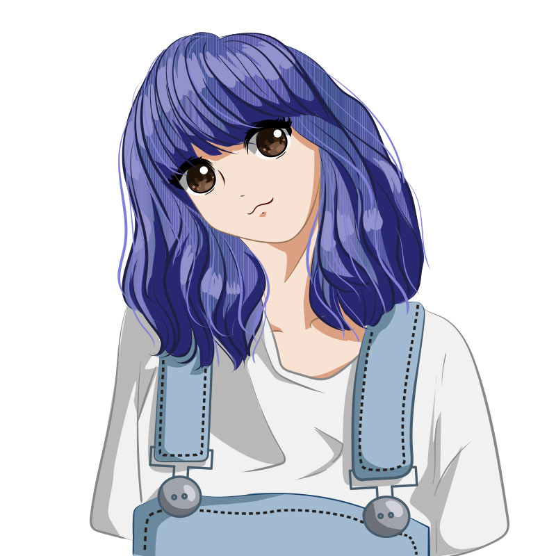 Милая аниме девушка с синими волосами, в белой футболке и комбинезоне с подтяжками.