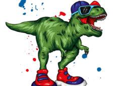 Картинка зелёный динозавр в солнечных очках, бейсболке и кроссовках.