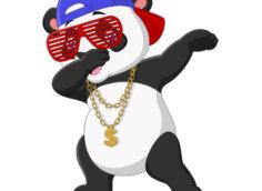 Прикольная картинка на аву с танцующей дэп пандой в очках и рэперской бейсболке.
