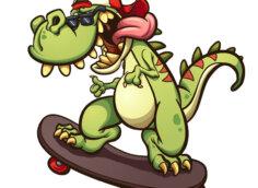 Картинка на аву мультяшный динозавр на скейте в бейсболке и солнечных очках.