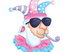 Смешная лама в солнечных очках и шляпе клоуна.
