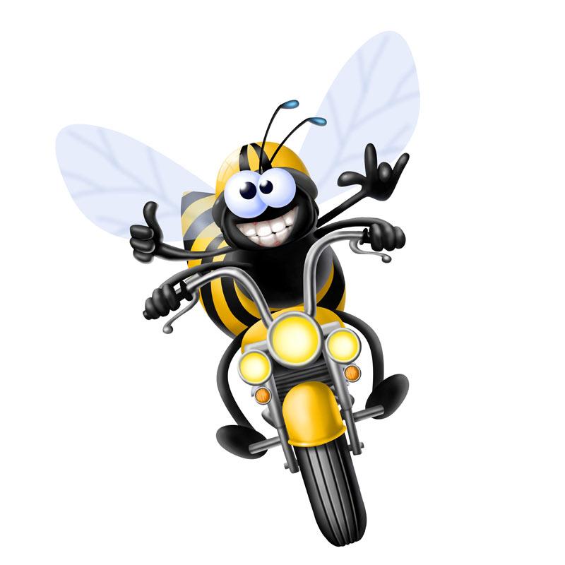 Прикольная аватарка для скайпа улыбающаяяся пчела на мотоцикле.
