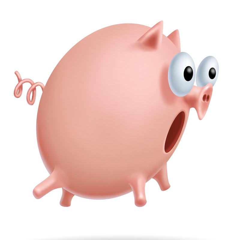 Круглая розовая свинка