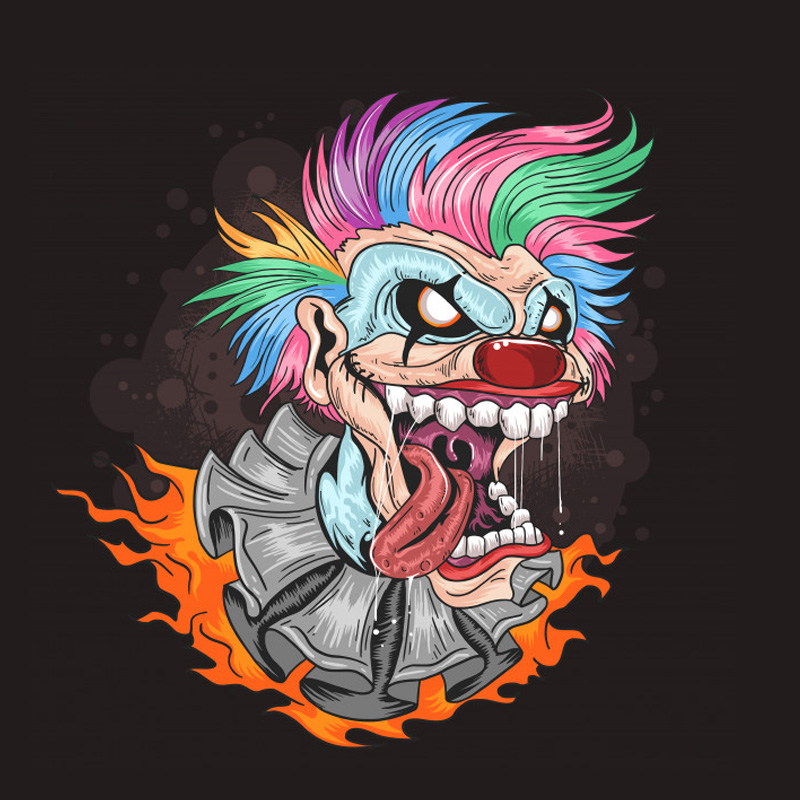 Страшный клоун с цветными волосами и раскрытым ртом.