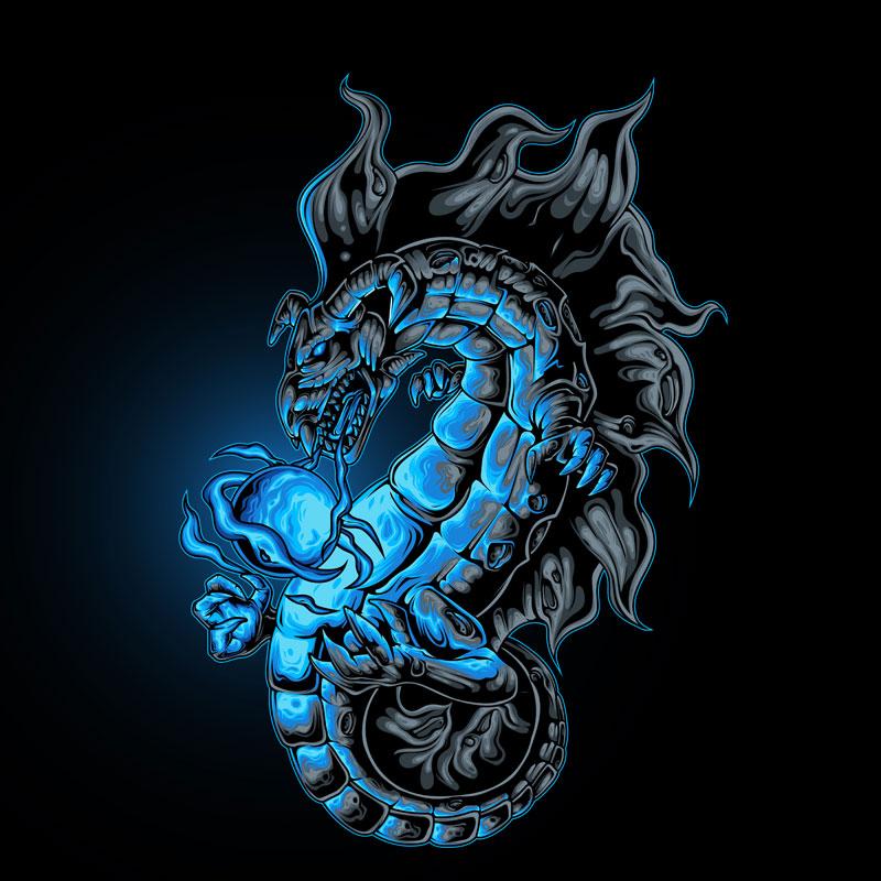 Синий дракон на чёрном квадратном фоне.