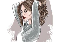 Рисунок девушки с коричневыми волосами в профиль на аву.