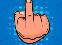 Синяя аватарка с нарисованной кистью руки человека, показывающего средний палец.