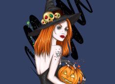 Мультяшная аватарка для девушек с ведьмой в чёрной шляпе и тыквой для Хэллоуина.
